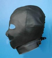 Cheap 2015 Hot Sex product! Soft leather bondage Mask open mouth eye Headgear Adult sex toys bed game set.
