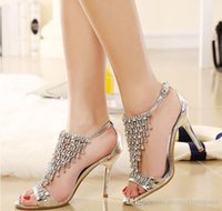 Wholesale Satin Shoe Pearl Ankle Strap - Bling Bling Crystal High Heel Gold Silver Rhinestone Shoes Wedding Shoes Sandal Bridal Shoes Evening Prom Shoes Cinderella Shoe