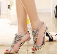 Wedding Pumps Medium(B,M) Bling Bling Crystal High Heel Gold Silver Rhinestone Shoes Wedding Shoes Sandal Bridal Shoes Evening Prom Shoes Cinderella Shoe