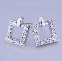 Wholesale JLB Fashion Jewelry K Gold Silver Plated Austria Rhinestone Crystal Stud Earrings