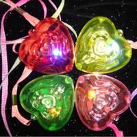 Wholesale Children Kids LED Light Up Flashing Blinking Love Heart Necklace Pendants Best Gift