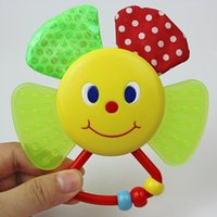 Wholesale Cute Smiling Sunflower Teether Rattle Baby Plastic Multifunctional Educational Toys Ring BB Device For Newborns Infants