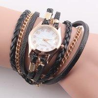 Wholesale Trendy Design Multilayer Wrap Leather Chain Watch Quartz Wrist Watch Women Casual Dress Bracelet Watches W37