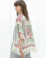 tassel - Women Floral print fringe tassel babo ponchos fringes Tops European Brand Beach Kimono Cape Swim Cover Poncho fashion vintage elegent Lady