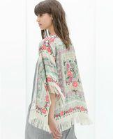 fringe scarf - Women Floral print fringe tassel scarves wraps cotton Tops European Brand Beach Kimono swim cover infinity vintage bohimian shawl