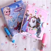 Wholesale Hot Selling Cartoon Frozen Princess Elsa Anna Sofia Diary Note Book Writing Books Ice Snow Queen Stationery Learning Write Gift Pen A1667