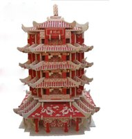 Wholesale 3D puzzle DIY Yellow Crane Tower Chinese style Castle Towers in China