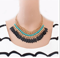 beaded fringe wholesale - Layered Bohemian Tassels Fringe Drop Vintage Female Choker Chain Necklace Exquisite Accessary