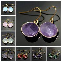 amethyst dangle earrings - Boho Raw Women Fashion Jewelry Gem Natural Stone Opal Earring Turquoise Amethyst Blue Round Pink Crystal Quartz Hook Earrings