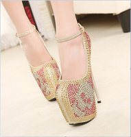 20cm high heels - New arrival cm sexy high heels wedding shoes woman cm platform ladies shoes with rhinestone size