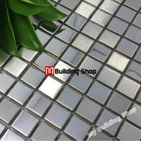 Wholesale Silver metal mosaic tile SMMT033 square stainless steel metallic mosaic wall tiles backsplash mirror mosaic tiles pattern