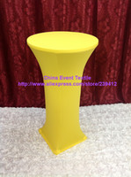 Wholesale 20pcs Extra Larger Lemon Yellow Lycra Dry Bar Cover High Cocktail Table Lycra Cover for Weddings Events Banquet Party Decoration