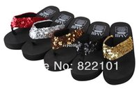 Cheap New 2014 women's sandals fashion bling Flip Flops Beach slippers Free shipping lady's wedges Sandals