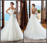beaded cross - Backless Lace Wedding Dresses Applique Beaded Sash Tulle Criss Cross Straps Chapel Train Bridal Gowns Spring Wedding Ball Dress Custom