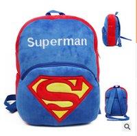 Wholesale superman Children kindergarten school Bag Cotton wool Backpacks Baby mochila Kids Boy and Girl mini bag