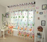 Wholesale 200x270CM Butterfly Window Voile Curtain Panel Patio Room Sheer Screen Decor