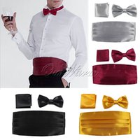 Wholesale Mens Gentlemen Satin Cummerbund Bow Tie Pocket Square Hanky Set Formal Tuxedo Prom Wedding Decoration Clothes Accessories