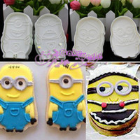 baking cookie cutters - 4pcs D Minions Sugarcraft Fondant Cake Decorating Tools Plunger Cookie Cutter Biscuit Gum Paste Mould Baking Cooking Tool