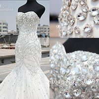Wholesale Unique Design Wedding Dresses Mermaid Sweetheart Beaded Floor Length Sweep Train Bridal Gowns Bling Bling