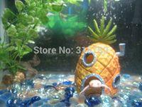 Wholesale 1PC Large cm quot H Childeren Gift SpongeBob Pineapple House Home Fish Aquarium Ornament Decor Resin Decoration