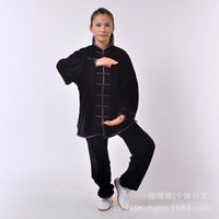 Wholesale and retail of Tai Chi uniform thick velvet Quartet martial arts clothing for men and women section deep purple