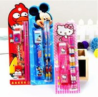 drawing ruler - Children Birthday Party Gifts Kids Prizes Stationery Gifts Lovely School Stationery Set Pencils knife eraser ruler pencil sharpener M1968