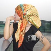 Cheap Willow silk scarves silk scarves 100% silk crepe satin large square Gogh sunset