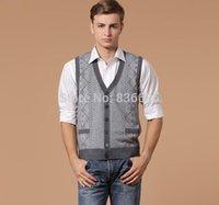 argyle cardigan men - Casual men argyle V neck buttons wool cardigan vest