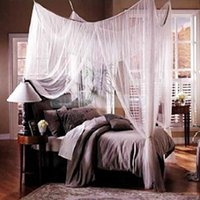 mosquito net - 2014 New Brand White four Corner Canopy Home Bed Netting Mosquito Net Full Queen King Size Bed cm W x210cm L x H