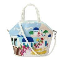 aegean sea islands - Tottyblu Braccialini brand Italy Art Aegean Sea Santorini Island women messenger bags Shoulder Bag Female Tote Bag Handbag