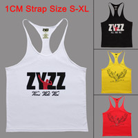Wholesale ZYZZ Bodybuilding Tank Top Men Gym Stringer Singlet Fitness Sleeveless Undershirt Muscle Vest Cotton Shirt GASP Racerback Animal