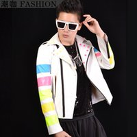 leather motorcycle apparel - Fall New White Stitching Sleeves Rivet Studded Motorcycle Jacket Korean Men Jacket Performance Apparel Stage Jacket Costume M XL