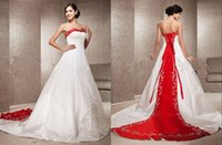 red and white strapless wedding dresses - White and Red Wedding Dresses A Line Chapel Train Satin Strapless Wedding Dress With Embroidery Beading Bridal Gowns Custom Made