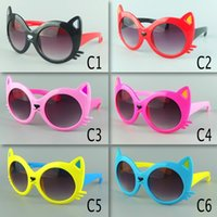 eye protection glasses - Cute Cartoon Cat Face Kids Sunglasses Colorful Fashion Beach Children Sun Glasses Colors UV400 Eyes Protection