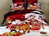 Cheap New 3D Christmas 4pcs bedding set! santa deer active print cotton comforter, queen size duvet cover sheet pillow linen D56