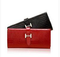 Wholesale Guaranteed Genuine Leather Wallet Women Handbags Wallets Clutch Bags Hot Sale Brander Design crocodile wallet for cheap