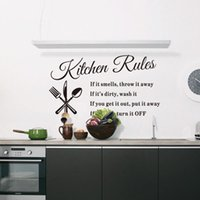 Wholesale Removable Wall Sticker Vinyl Quote Mural Home Art DIY Kitchen Rules Decal Decor
