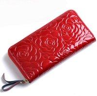 Wholesale Hot Fashion Women Handbags New Real Leather Ladies Long Purse Plaid Zipper Wallet Luxury Flower Printed Wallets MT129