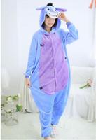 adult onesie - Flannel Eeyore Donkey Cosplay Costume Anime Onesie Jumpsuit Animal Pajamas for Adults