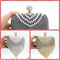 Wholesale 2015 Fashion High Quality Beaded Crystal Pearls Tassel Hand Bags Hard Box Evening One Shoulder Bags Clutch Bridal Banquet Party Purse