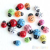 Wholesale 100Pcs Colorful Mini D Wall Stickers Home Decor Kid Toys DIY Ladybird Ladybug JDH