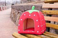 Wholesale Free EMS Soft Sponge Strawberry Pet Dog Cat Bed Houses Lovery Warm Doggy Kennel SIze Colors H465