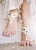 Wholesale Crochet barefoot sandals Ivory beach wedding sandals Bridesmaids Gifts Bridal Bridesmaids Summer Beach Shower Favors