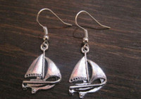 Wholesale Hot NAUTICAL SAILING BOAT SP Earrings Tibetan Silver Sailor Tattoo Style NEW silver Fishhook Ear Wire z926