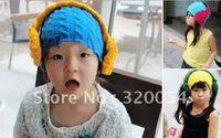baby blue headphones - 1pcs Surge headphones with wool turtleneck children hats cm Baby caps blue and purple