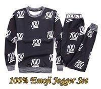 Cheap 2015 new men women's sport Joggers jogging suits print emoji 100 fashion tracksuits sweat shirt+pants 2 pcs clothing set black