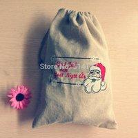 Wholesale 26 cm Santa Claus cotton linen storage bag Jute Drawstring Packaging Bag zakka Gift Bag for storage Christmas gift bag