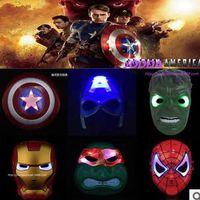 Wholesale Superhero LED flash mask Hulk Ironman spiderman TMNT Captain Americ children men lady party COS heros avengers cartoon film mask xmas gift