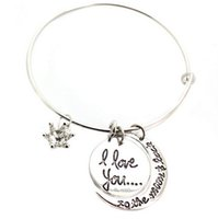 acrylic bangle bracelets - 10 Links Chain Fit Hollow i love you to the moon and back Pendant Charm Jewelry Women s Bracelets Bangle
