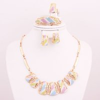 Wholesale 2015 Colorful Women Gold Plated Dubai African Costume Jewelry Sets Fashion Statement Necklace Earrings Ring Set A1245